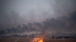 De la fumée s'élève d'un incendie à proximité de la ville de Tall Abyad, en Syrie, le 10 octobre 2019. (BULENT KILIC / AFP)
