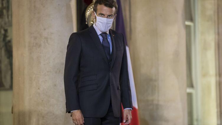Emmanuel Macron à l'Elysée, le 30 septembre 2020. (CHRISTOPHE PETIT TESSON / AFP)