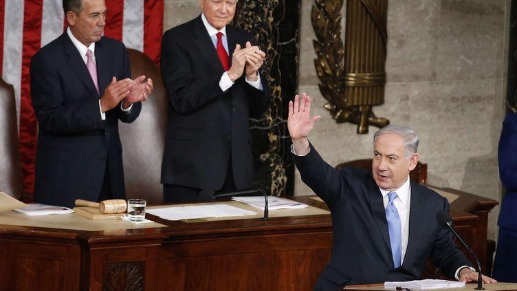 Le Premier ministre israélien Benyamin Netanyahouest à la tribune du Congrès des Etats-Unis, le 3 mars 2015 (ANDREW HARNIK / AP / SIPA)