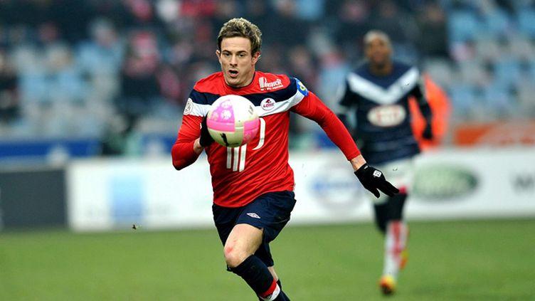 Nolan Roux en février dernier face à Bordeaux lors d'un match spectaculaire remporté par les Girondins (4-5). (STEPHANE MORTAGNE / MAXPPP)