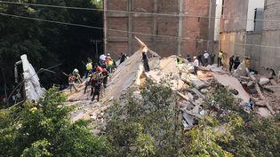 Un immeuble s'est effondré après un violent séisme, à Mexico (Mexique), le 19 septembre 2017. (CLAUDIA DAUT / REUTERS)