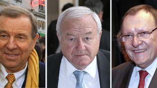 De gauche à droite :les députés UMP Lucien Degauchy etBernard Brochand et le sénateur UMP Bruno Sidosignalés au parquet par laHATVP le 13 Novembre 2014. (PATRICK KOVARIK / AFP)