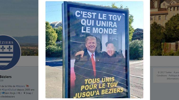 La ville de Béziers (Hérault) a dévoilé dimanche sa nouvelle campagne de communication en faveur du TGV. (TWITTER / Ville de Béziers)