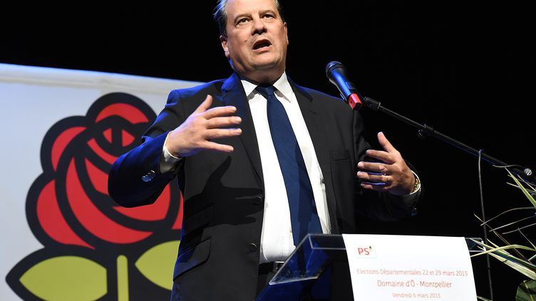 Jean-Christophe Cambadelis lors d'un meeting pour les élections départementales, le 6 mars 2015, à Montpelllier (Hérault). (PASCAL GUYOT / AFP)