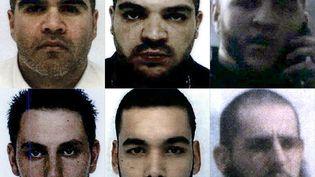 Sixdes onze Français condamnés à mort en Irak :Salim Machou, Mustapha Merzoughi, Brahim Nejara, Kevin Gonot, Yassine Sakkam and Leonard Lopez (en partant d'en haut à gauche jusqu'en bas à droite). (AFP)