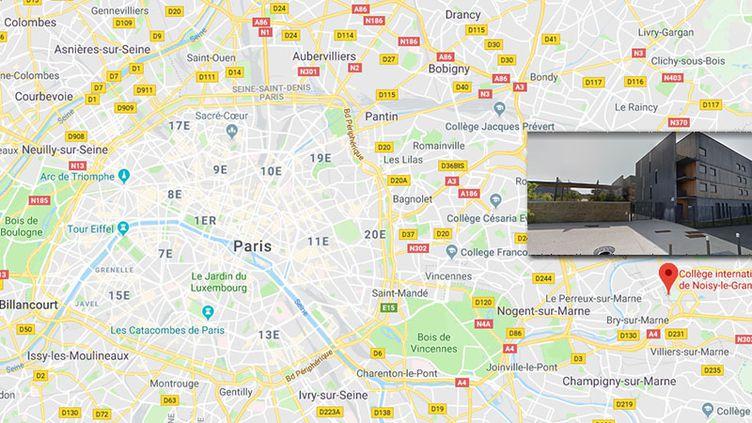 Le principaldu collège international de Noisy-le-Grand (Seine-Saint-Denis) et son adjoint gestionnaire sont en arrêt maladie depuis les faits. (GOOGLE MAPS / FRANCEINFO / RADIO FRANCE)
