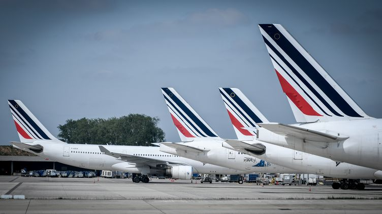 Des avions de la compagnie Air France-KLM sont sur le tarmac de l'aéroport Roissy-Charles de Gaulle, près de Paris, le 24 avril 2018. (STEPHANE DE SAKUTIN / AFP)