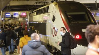 Des voyageurs prennent un TGV le 19 mars 2021 à la gare Montparnasse à Paris. (LUDOVIC MARIN / AFP)
