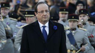 François Hollande préside une cérémonie de commémoration de la fin de la première guerre mondiale, à Oyonnax (Ain), le 11 novembre 2013. (ROBERT PRATTA / REUTERS)