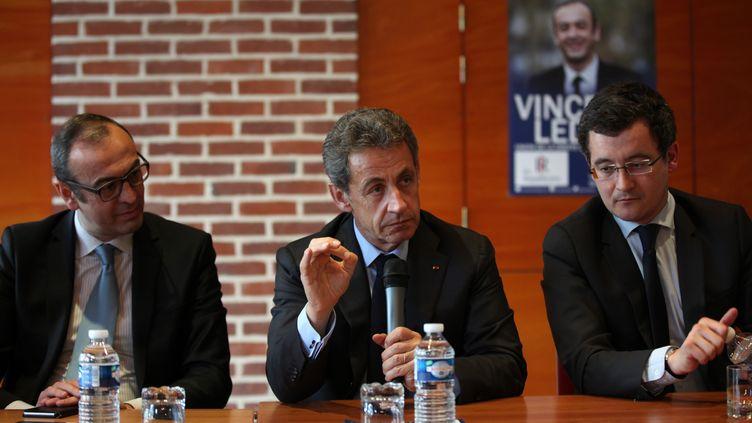 Le candidat des Républicains Vincent Ledoux participe à un meeting de campagne avec Nicolas Sarkozy, le 3 mars 2016 à Tourcoing, avant la législative partielle dans le Nord. (CITIZENSIDE/THIERRY THOREL / CITIZENSIDE.COM)