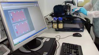 Untechnicien isole un fragment d'un prélèvement d'ADN, le 12 octobre 2007 dans les locaux du Service central d'analyse génétique de la gendarmerie (SCAGGEND) à Cergy-Pontoise. (MEHDI FEDOUACH / AFP)