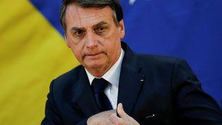Jair Bolsonaro participe à une cérémonie des services de renseignement brésiliens, le 11 juillet 2019, à Brasilia (Brésil). (ADRIANO MACHADO / REUTERS)