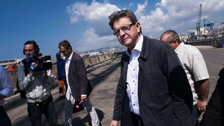 Le candidat aux législatives Jean-Luc Mélenchon, le 2 juin 2017 à Marseille (Bouches-du-Rhône). (LILIAN AUFFRET / SIPA)