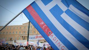 """Une manifestation en faveur du """"non"""" au référendum sur le plan d'aide européen, à Athènes, le 29 juin 2015. (CHRISTOS STAMOS / CITIZENSIDE.COM / AFP)"""