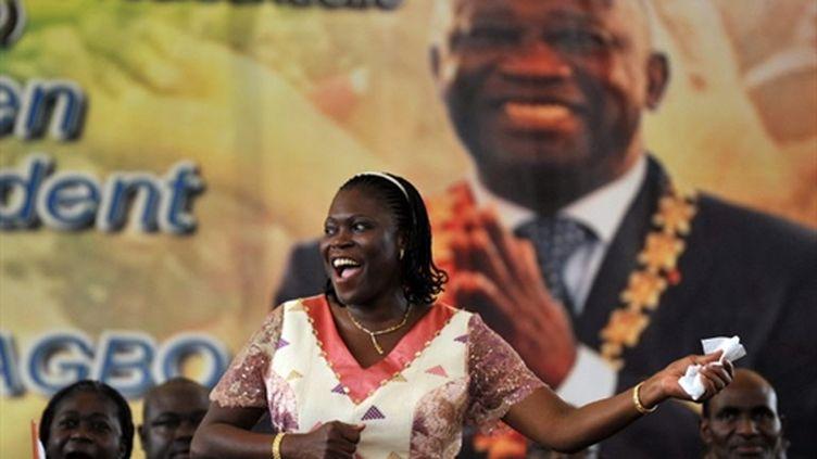 Simone Gbagbo en meeting le 15 janvier 2011 à Abidjan (AFP - ISSOUF SANOGO)