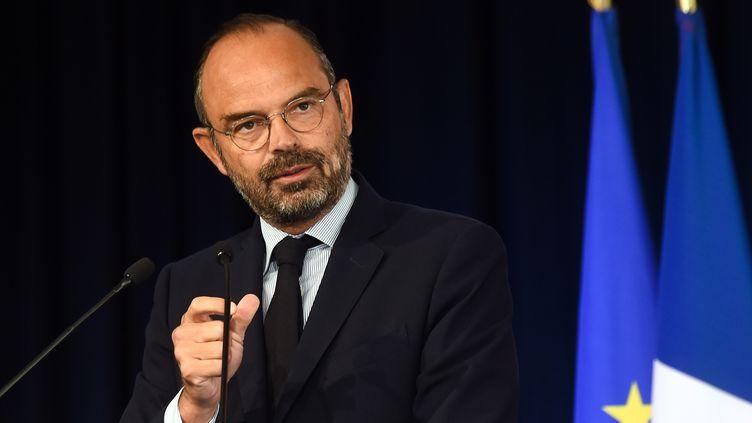 Edouard Philippe s'exprime devant un congrès de maires, le 20 septembre 2019, à Eppe-Sauvage (Nord). (FRANCOIS LO PRESTI / AFP)