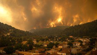 L'île d'Euboea en Grèce, ravagée par des incendies le 8 août 2021. (ANGELOS TZORTZINIS / AFP)