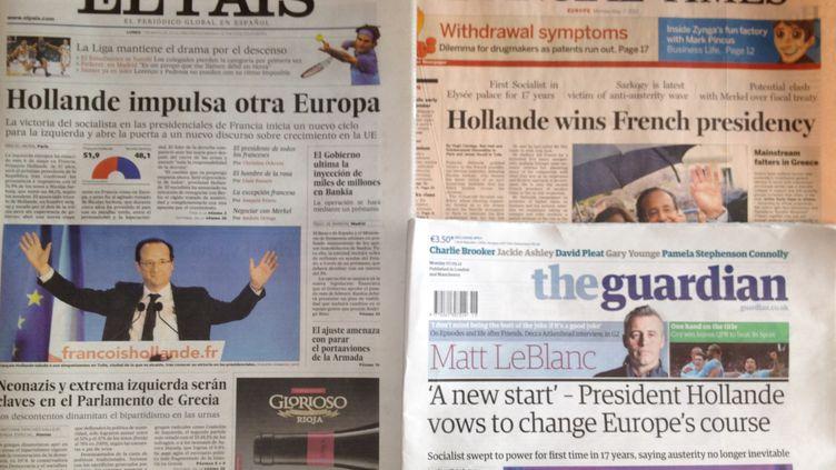 François Hollande est à la une de la presse européenne, le 7 mai 2012. (FTVI)