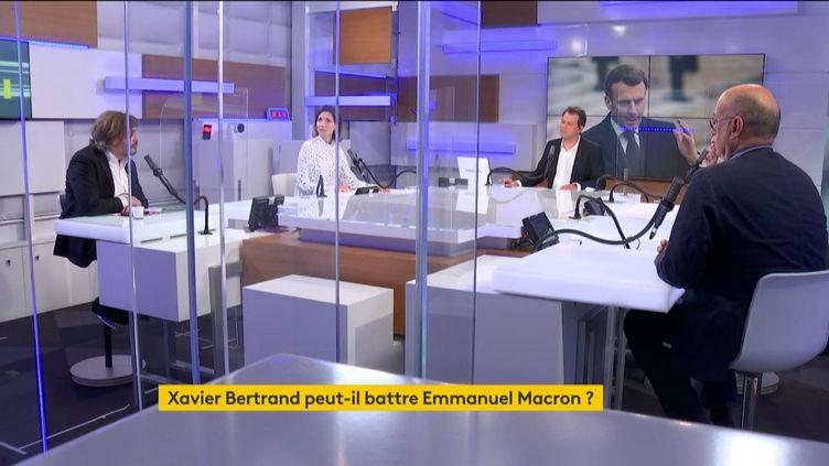 Autour de MarcFauvelleetRenaud Dély,Étienne Gernelle, du Point,Alix Bouilhaguetet JeanJérôme Bertholusdefranceinfodébattent de l'actualité du jeudi 25 mars 2021. (FRANCEINFO)