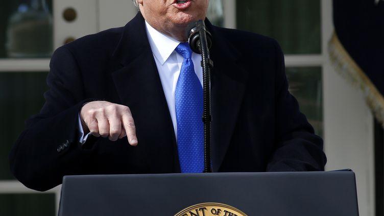 Le président américain Donald Trump à la Maison Blanche, à Washington, la capitale fédérale des Etats-Unis, le 15 février 2019. (MARTIN H. SIMON / CONSOLIDATED NEWS PHOTOS / AFP)