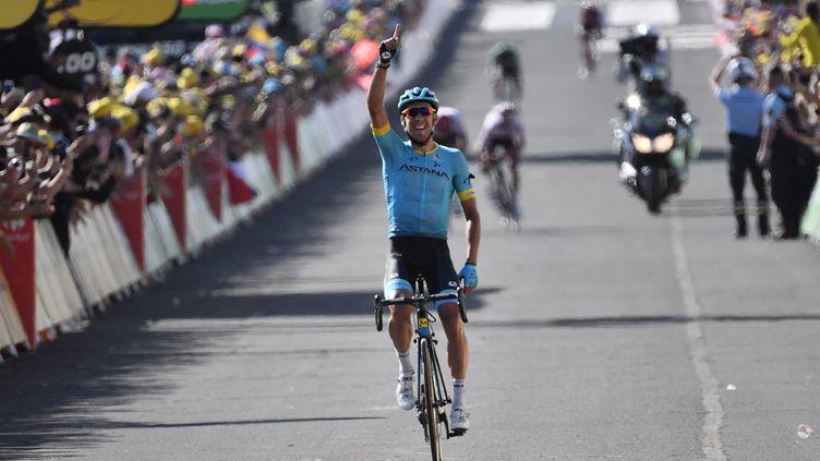 L'Espagnol Omar Fraile remporte la 14e étape du Tour de France, le 21 juillet 2018, à Mende (Lozère). (JEFF PACHOUD / AFP)