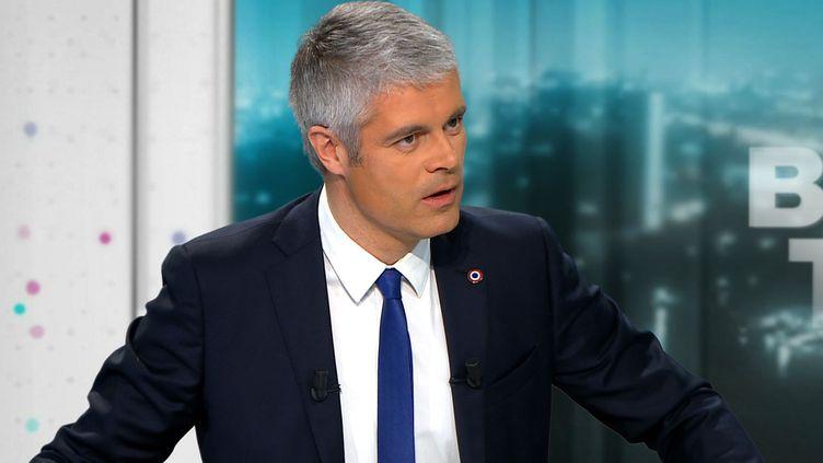 Laurent Wauquiez, le président des Républicains, sur le plateau de BFMTV, le 20 février 2018. (BFM TV)
