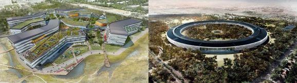 A gauche, le futur Googleplex de Google, à Cupertino, à droite, le projet deCampus 2 d'Apple, en chantier. (GOOGLE / APPLE)