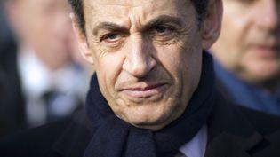 Le président candidat, Nicolas Sarkozy, au cours d'une visite à la centrale nucléaire de Fessenheim (Haut-Rhin), le 9 février 2012. (LIONEL BONAVENTURE / AFP PHOTO)
