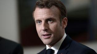 Le président de la République, Emmanuel Macron, le 17 mai 2019 à Biarritz (Pyrénées-Atlantiques). (IROZ GAIZKA / AFP)