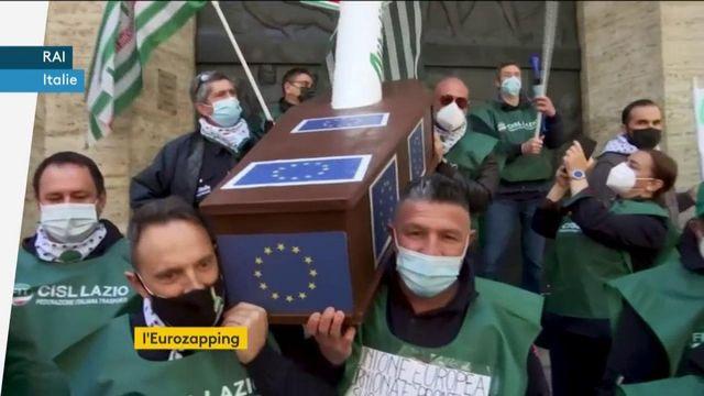 Eurozapping : manifestation des salariés d'Alitalia ; les princes Harry et William réunis samedi