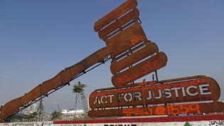 Un monument en mémoire aux victimes de l'explosion au port de Beyrouth, au Liban, le 4 août 2021. (JOSEPH EID / AFP)