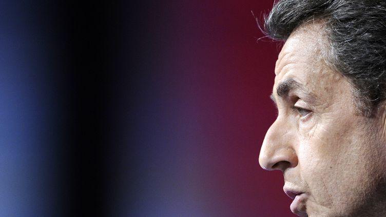 Nicolas Sarkozy en meeting à Marseille, le 19 février 2012. (LIONEL BONAVENTURE / AFP)