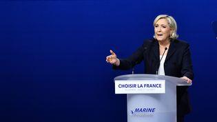 Marine Le Pen lors d'un meeting à Villepinte (Seine-Saint-Denis), le 1er mai 2017. (ANTONIO BORGA / ANADOLU AGENCY / AFP)