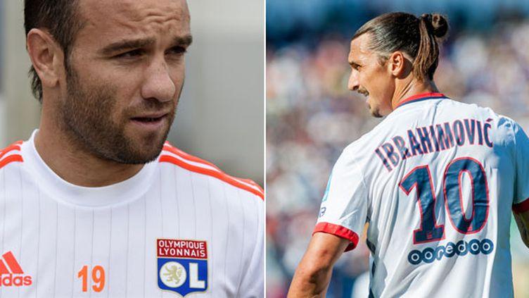 Mathieu Valbuena (OL) et Zlatan Ibrahimovic (PSG