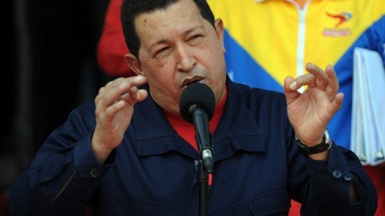 Hugo Chavez annonçant le 22 juillet 2010 la rupture des relations diplomatiques entre Colombie et Vénézuéla (AFP - Juan BARRETO)