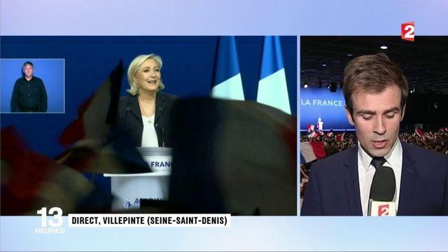 """Présidentielles : Marine Le Pen charge Emmanuel Macron, """"le visage de la finance"""" à Villepinte"""