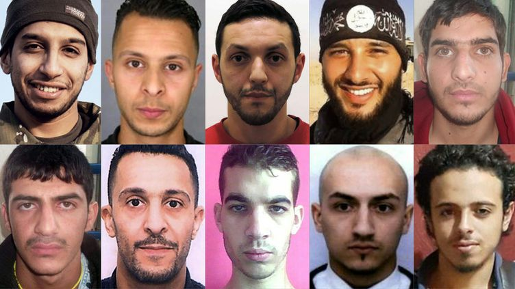 De gauche à droite :Abdelhamid Abaaoud,SalahAbdeslam,Mohamed Abrini etFoued Mohamed-Aggad. (FEDERAL POLICE / POLICE NATIONALE / AFP)
