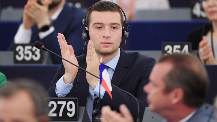 L'eurodéputé du Rassemblement national Jordan Bardella au Parlement européen, le 3 juillet 2019 à Strasbourg. (FREDERICK FLORIN / AFP)