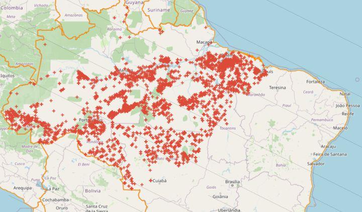 Feuxen Amazonie brésilienneenregistrés en juillet 2020 par l'INPE. (INPE)