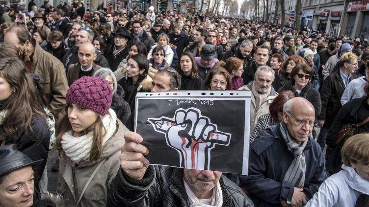 La marche républicaine à Lyon (Rhône), le 11 janvier 2015. (JEAN-PHILIPPE KSIAZEK / AFP)