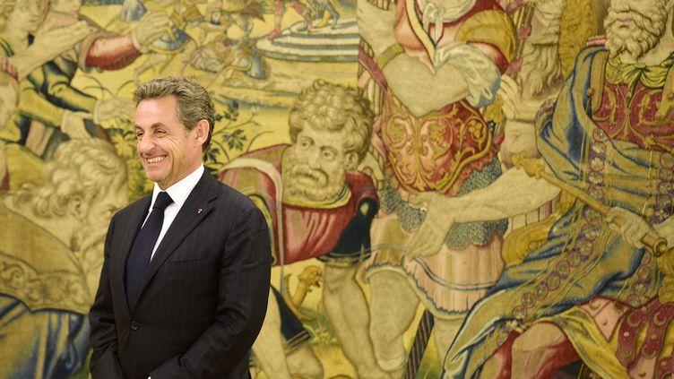 L'ancien président Nicolas Sarkozy pose devant les photographes lors d'une rencontre avec le roi d'Espagne, Juan Carlos, au palais de la Zarzuela, à Madrid (Espagne), le 27 mai 2014. (GERARD JULIEN / AFP)