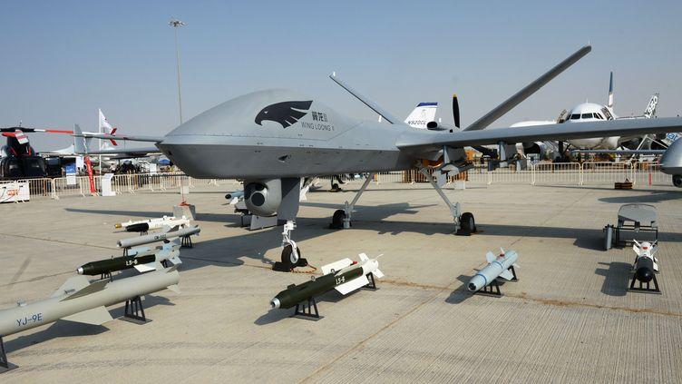 Le drone chinois Wing Loong-2 lors du salon aérien de Dubaï en 2017. (SERGEY MAMONTOV / SPUTNIK / AFP)