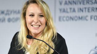 Marion Maréchal lors du Forum international économique de Yalta, en Russie, le 19 avril 2019. (MAKSIM BLINOV / SPUTNIK / AFP)