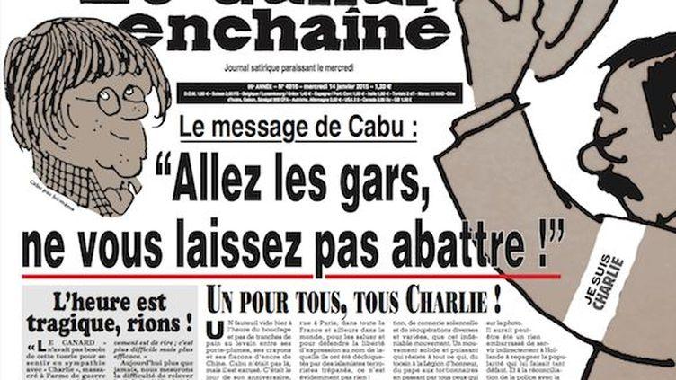 """Capture d'écran du site du """"Canard enchaîné"""" montrant la une du journal satirique daté du 14 janvier 2015. (LE CANARD ENCHAINE)"""