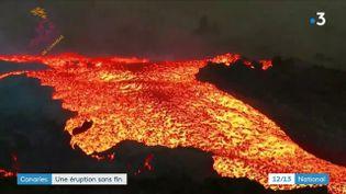 Sur l'île espagnole de La Palma, dans les Canaries, le volcan Cumbre Viejaest toujours enéruption. (CAPTURE D'ÉCRAN FRANCE 3)