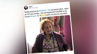 La grand-mère de Sandrine Engels, centenaire,va mieux après avoir contractéle Covid-19. (CAPTURE ECRAN / TWITTER SANDRINE ENGELS)