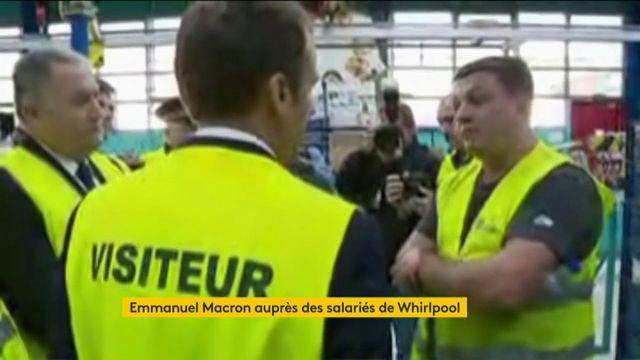 Emmanuel Macron rencontre deux intérimaires de l'usine Whirlpool d'Amiens
