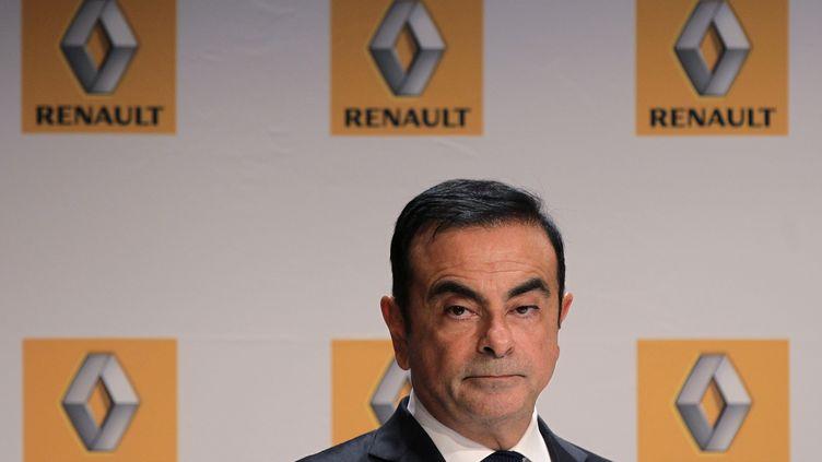 L'ancien PDG de Renault, Carlos Ghosn, lors d'une conférence de presse à Sandouville (Seine-Maritime), le 30septembre 2014. (CHARLY TRIBALLEAU / AFP)