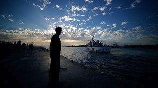 Dans le port de Lampedusa (Italie), le 25 octobre 2013. (FILIPPO MONTEFORTE / AFP)