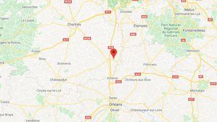 L'accident a eu lieu sur l'A10 à hauteur de Janville. (GOOGLE MAPS / FRANCETV INFO)